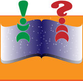 Book with question and exclamation. A book with question and exclamation made by humans Royalty Free Stock Photo