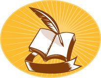 Book with quill pen and scroll woodcut Stock Photo