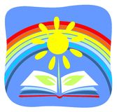 Book and rainbow Stock Image