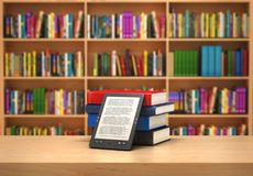 Book reader on the blurred background; 3d illustration Stock Photography