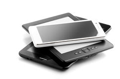 Book Reader Tablet And Phone  On White Royalty Free Stock Images