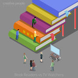 Book readers and TV watchers auditory concept. Fla. T 3d isometry isometric style web site app icon set concept vector illustration. Creative people collection Stock Photography