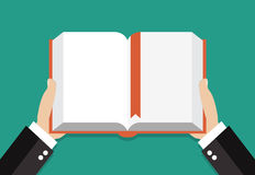 Book reading concept. Businessman hands holding a book. vector illustration in flat design Royalty Free Stock Images