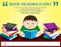 Book Reading Event Advertising Poster. Illustration of Man Reading a Book vector illustration