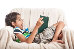 Book reading hobby little boy Stock Images