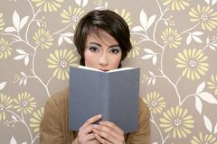 Book reading shy woman retro 60s vintage Stock Images