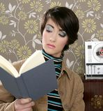 Book reading woman retro vintage wallpaper room Royalty Free Stock Photos