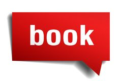 Book red 3d speech bubble. Book red 3d square isolated speech bubble Stock Photography