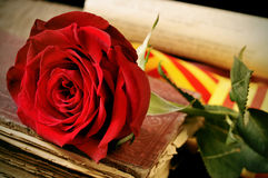 Book, red rose and the catalan flag for Sant Jordi, Saint George Royalty Free Stock Image