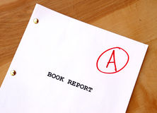 A Book Report. With a grade of A Royalty Free Stock Image