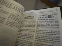 Book of Revelation. Aka Apocalypse or Revelation of John in Swedish and English Royalty Free Stock Images