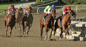 Book Review Wins 2012 The La Brea Stakes. ARCADIA, CA - DEC 26: Rafael Bejarano (black cap) and 'Book Review' begin their move on the far turn to overtake the Royalty Free Stock Image