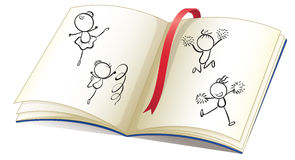 A book with a ribbon and images of kids dancing stock illustration