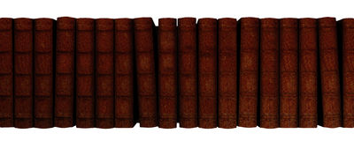 Book row. Illustration of a line of vintage hard cover books. Isolated on white background stock illustration