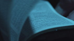 Book`s Pages Turning, Macro, Close Up, Slow Motion. Reading a Book, Flipping Pages stock video