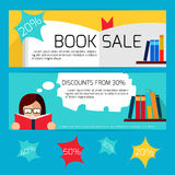Book Sale Horizontal Banners Stock Photos