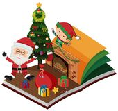 Book with santa and elf for christmas Royalty Free Stock Photo