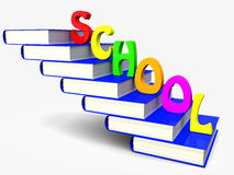 Book and school. Pile of books is a ladder with the letters of the word school. 3d illustration Stock Images