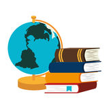 book school with planet earth isolated icon Stock Photography