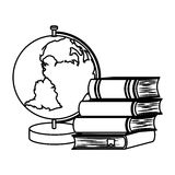 book school with planet earth isolated icon Stock Images