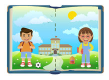 Book with school and two children. Vector vector illustration