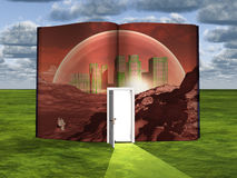 Book with science fiction scene. And open doorway of light royalty free illustration