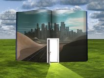Book with science fiction scene. And open doorway of light vector illustration
