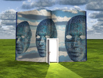 Book with science fiction scene and doorway of light Stock Photography