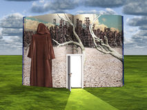 Book with science fiction scene and open door. Way of light Royalty Free Stock Image