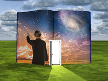 Book with science fiction scene and open door. Way of light Royalty Free Stock Images
