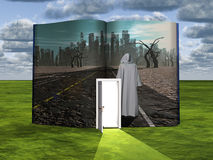 Book with science fiction scene Stock Image