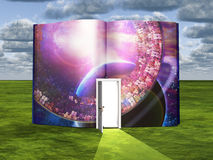 Book with science fiction scene and open doorway. Of light Stock Photography