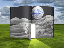 Book with science fiction scene. And open doorway of light Royalty Free Stock Photo