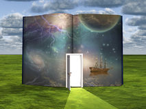 Book with science fiction scene and open doorway. Of light Royalty Free Stock Photos