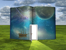 Book with science fiction scene and open doorway of light. Some elements provided courtesy of NASA Stock Photography
