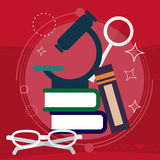 Book with Science and Nature Study Symbols. Education Concept. Vector Stock Photo