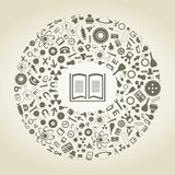 Book of sciences. The book in a scientific circle. A vector illustration Royalty Free Stock Photography