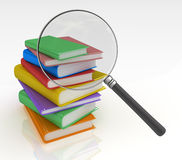 Book Search. Magnifying glass looking for the right book among a pile of colourful hardcovers. 3D rendered  on White Background Stock Photo