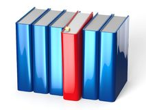 Book selecting from bookshelf blue row one red choosing. Book selecting from bookshelf blue row one red selected choosing take individual answer blank covers Royalty Free Stock Photos
