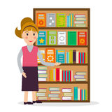 Book seller or librarian against shelf with books. Stock Image