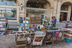 Book sellers on street in La Habana Vieja, turistic place from Cuba Stock Photography