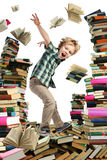 Book sellout and boy-reader Royalty Free Stock Images