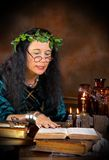 Book of shadows. Halloween witch reading in her book of shadows Stock Photography