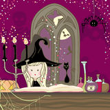 Book of Shadows. Cute little Witch is preparing to cast a spell Royalty Free Stock Photo
