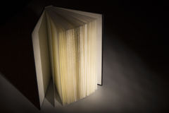 Book in the Shadows. A book in the shadows with a bright spot on light which makes it look interesting and mysterious royalty free stock images