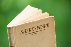 Book by Shakespeare on Green Background. An Open Book by Shakespeare is set against a Natural Green Background Royalty Free Stock Images