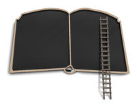Book shape black board with wooden ladder Stock Photography