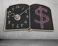 Book shape blackboard with clock hands and money symbol drawing. On wall stock illustration