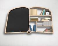 Book shape bookshelf and blackboard in white Stock Photography