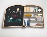 Book shape bookshelf and blackboard Royalty Free Stock Photo